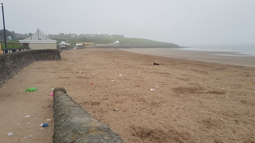 Litter left at Barry Island on Tuesday, 8 May