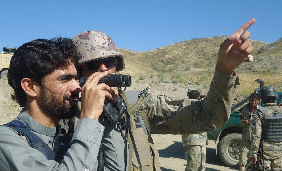 Nizami with Afghan Border Police in Nangarhar's Goshta District: hard skirmishes took place between Pak/Afg border forces here.