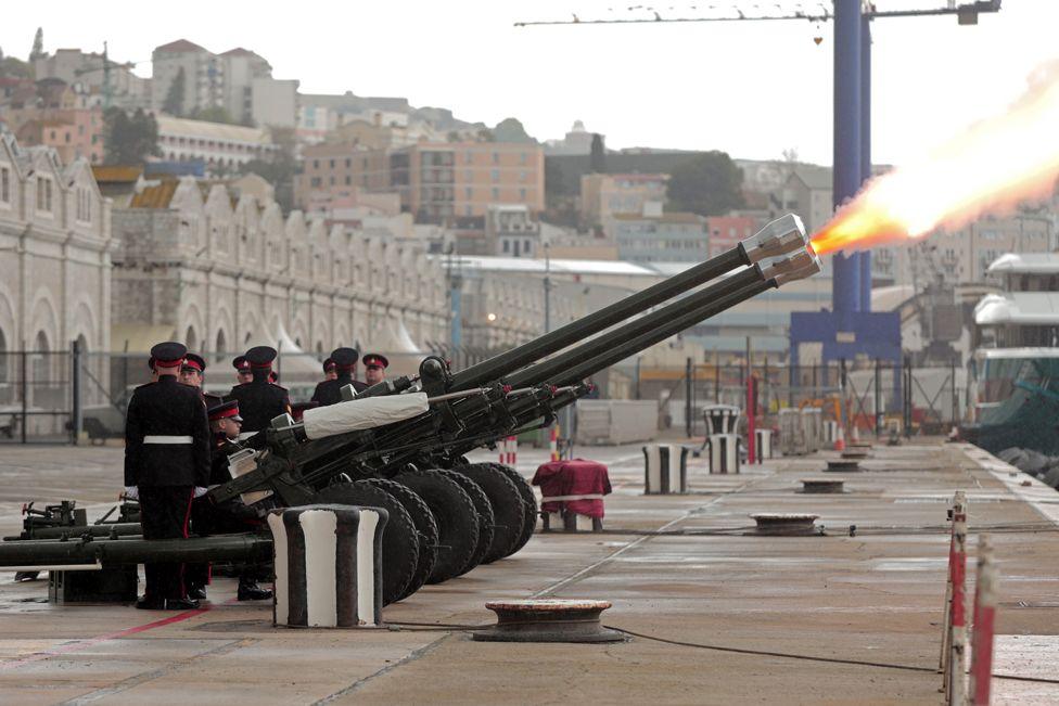 the Royal Gibraltar Regiment fire a 41-gun salute from HM Naval Base on 10 April 2021 in Gibraltar, Gibraltar.