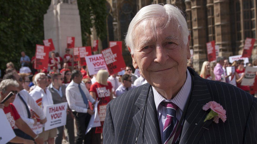 Lord Avebury at a gay rights demonstration in 2013