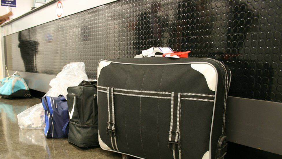 Detainees' bags at Colnbrook immigration removal centre near Heathrow