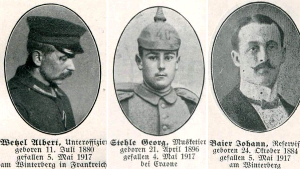 Three of the 270 soldiers whose lives were lost in the Winterberg tunnel