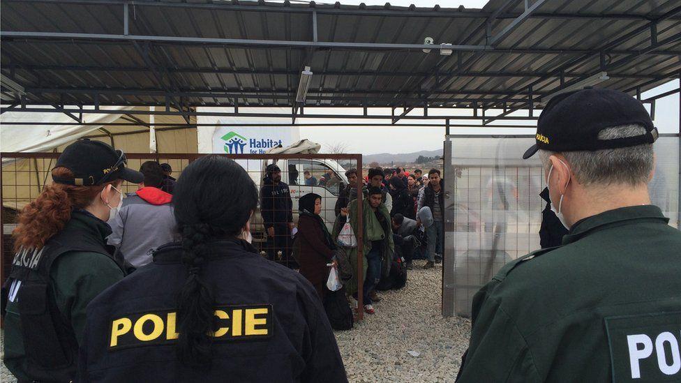 Police at Macedonia-Greece border