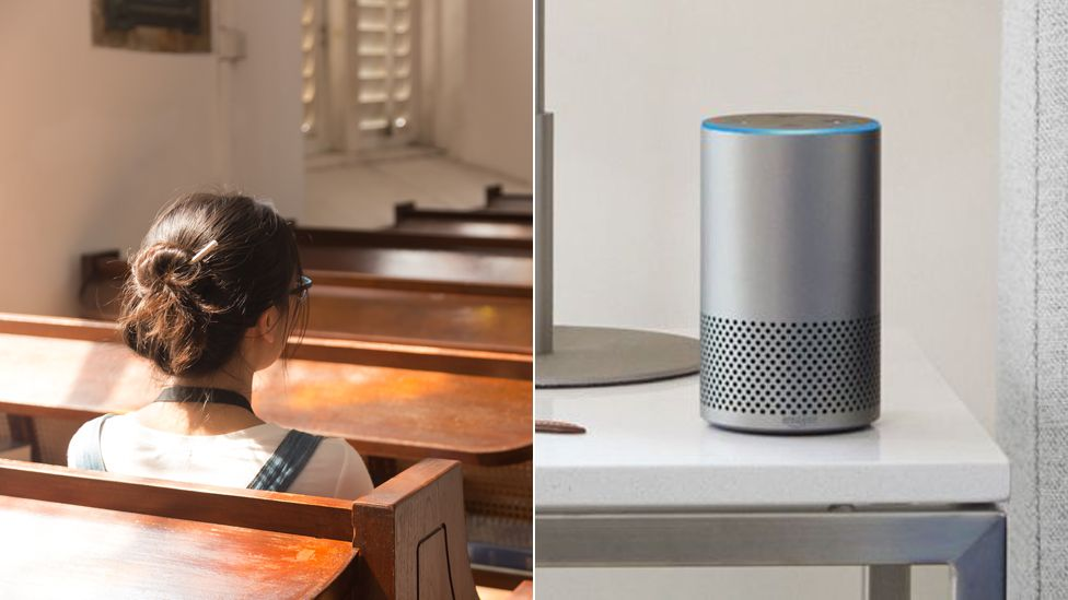 Woman sitting in church and Amazon's Alexa