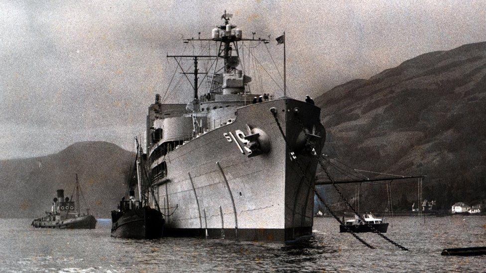 USS Proteus at anchor in the Holy Loch in 1961 - Image ID: B4FTP5