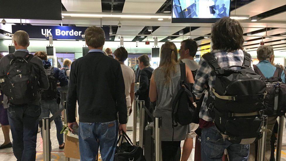 Passport control at Heathrow