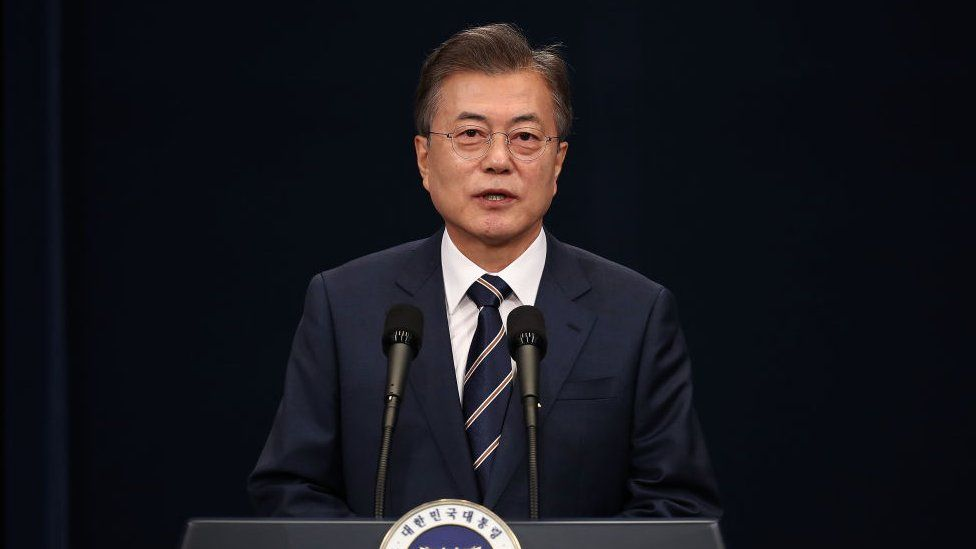 South Korean President Moon Jae-in attends the press conference at the presidential blue house on May 27, 2018 in Seoul, South Korea.