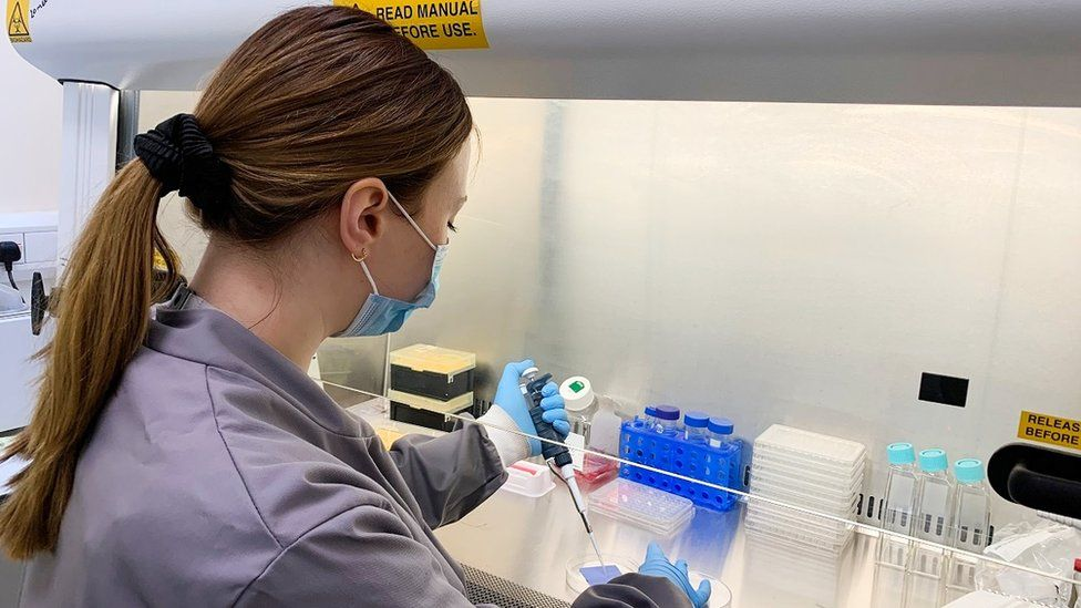 Dr Lucy Owen testing coronavirus on fabrics