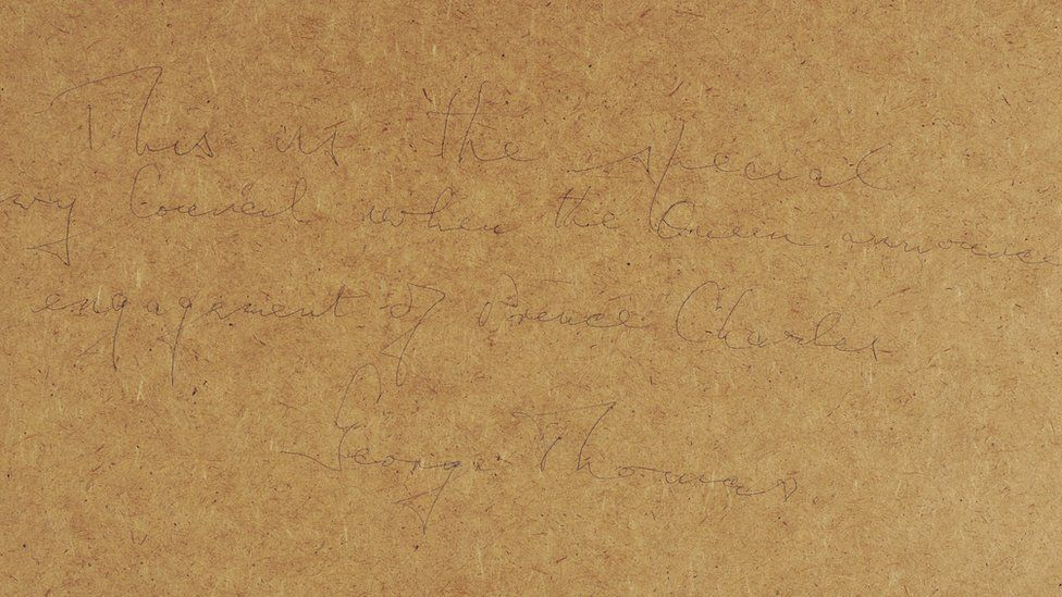 A message written on the photograph's frame by George Thomas, 1st Viscount Tonypandy