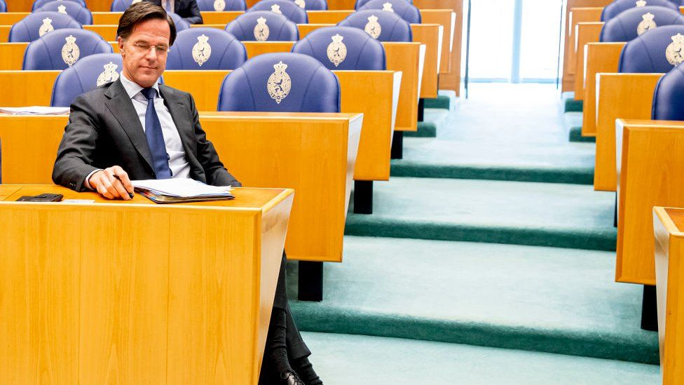 Mark Rutte during the debate in parliament on 1 April 2021
