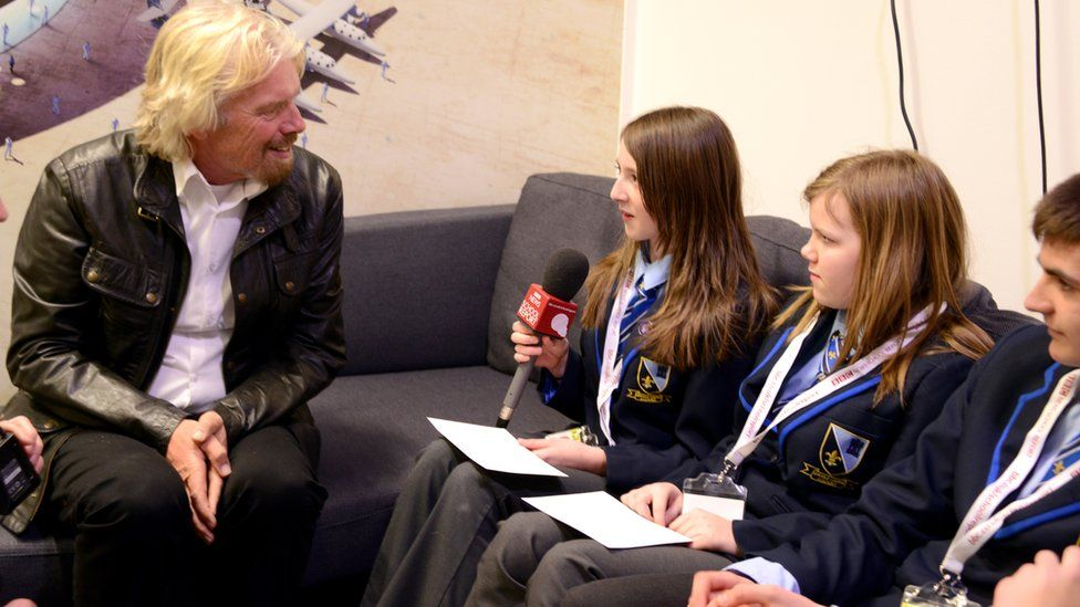 School Reporters and Richard Branson