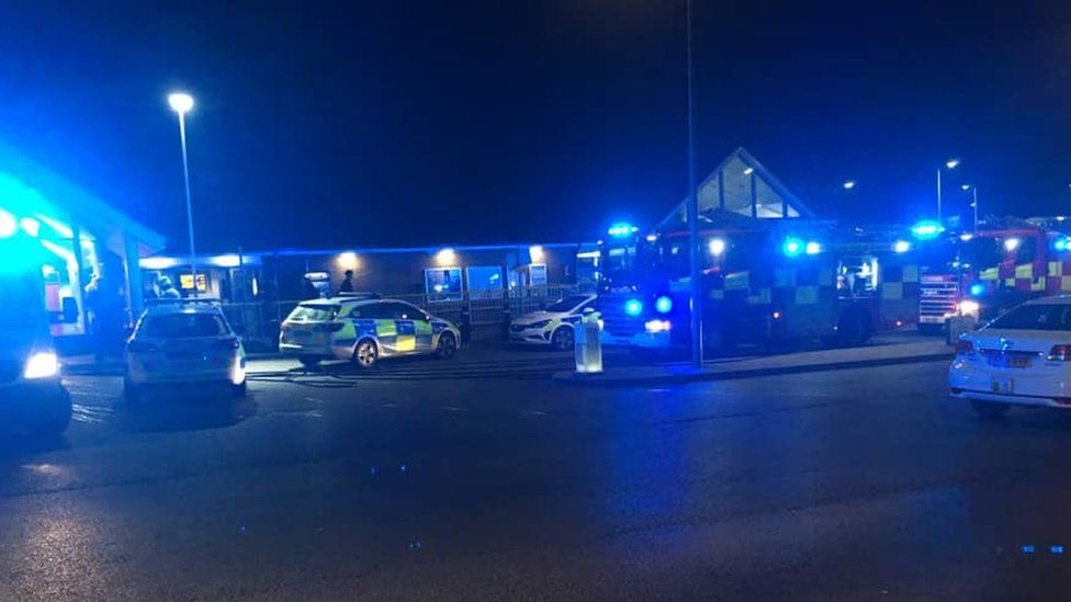 Emergency services outside Chafford Hundred station