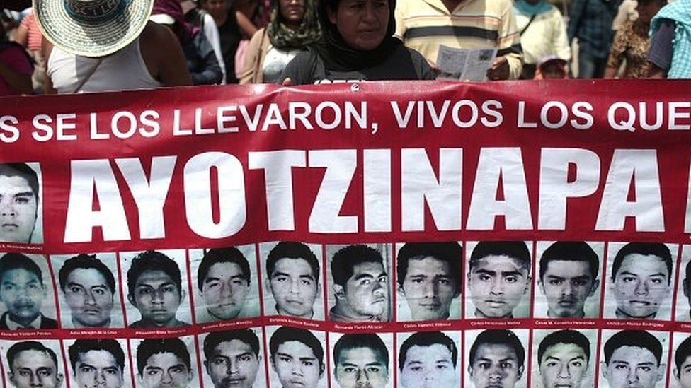 Students, local people and relatives of the 43 missing students from Ayotzinapa take part during a protest in Chilpancingo, Guerrero State, Mexico, on 26 September, 2015