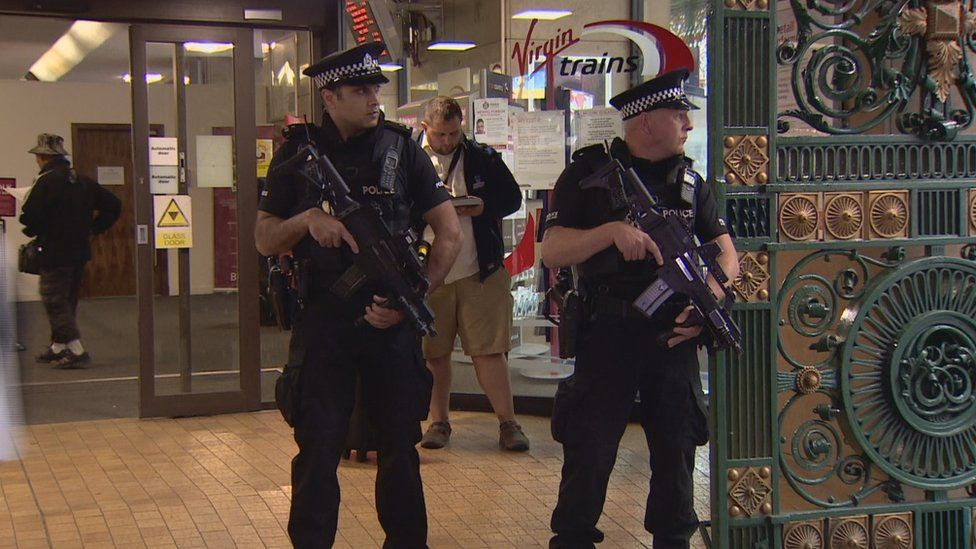 Armed police at Glasgow Central Station