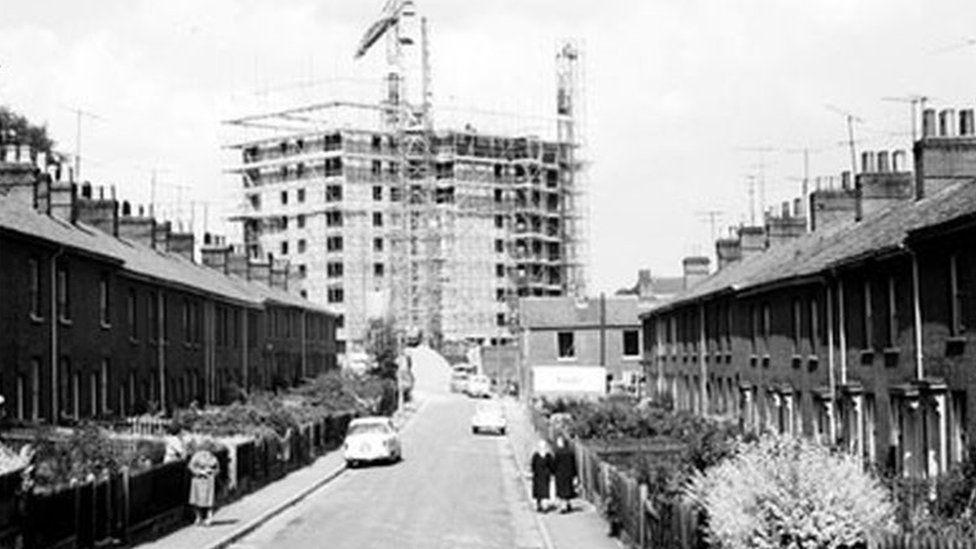 Normandie Tower being built in 1966
