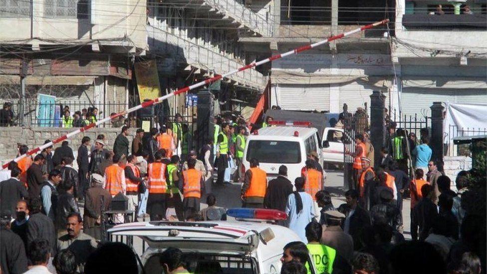 Ambulance shift injured victims of a bomb blast, to hospital in Kurram tribal region near the Afghan border in Pakistan, 13 December 2015.