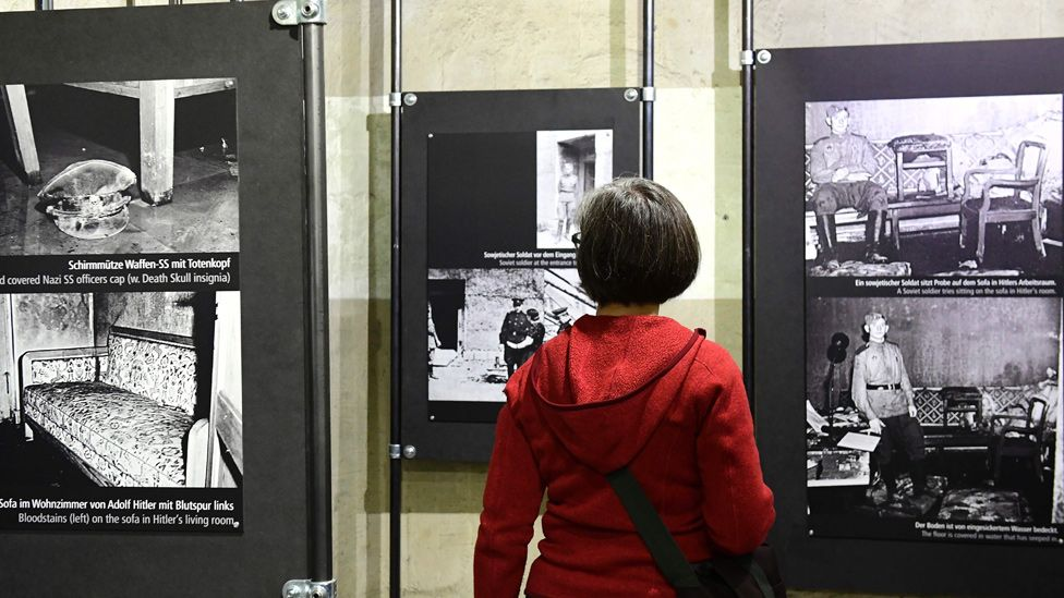 Photos in bunker exhibition (AFP pic)