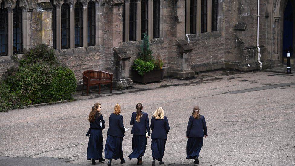 School girls arrive at Glenalmond College