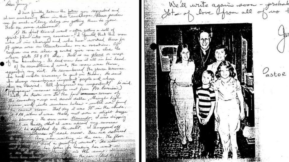 The letter a local pastor sent to the Farmer family with a description of the location of the graves