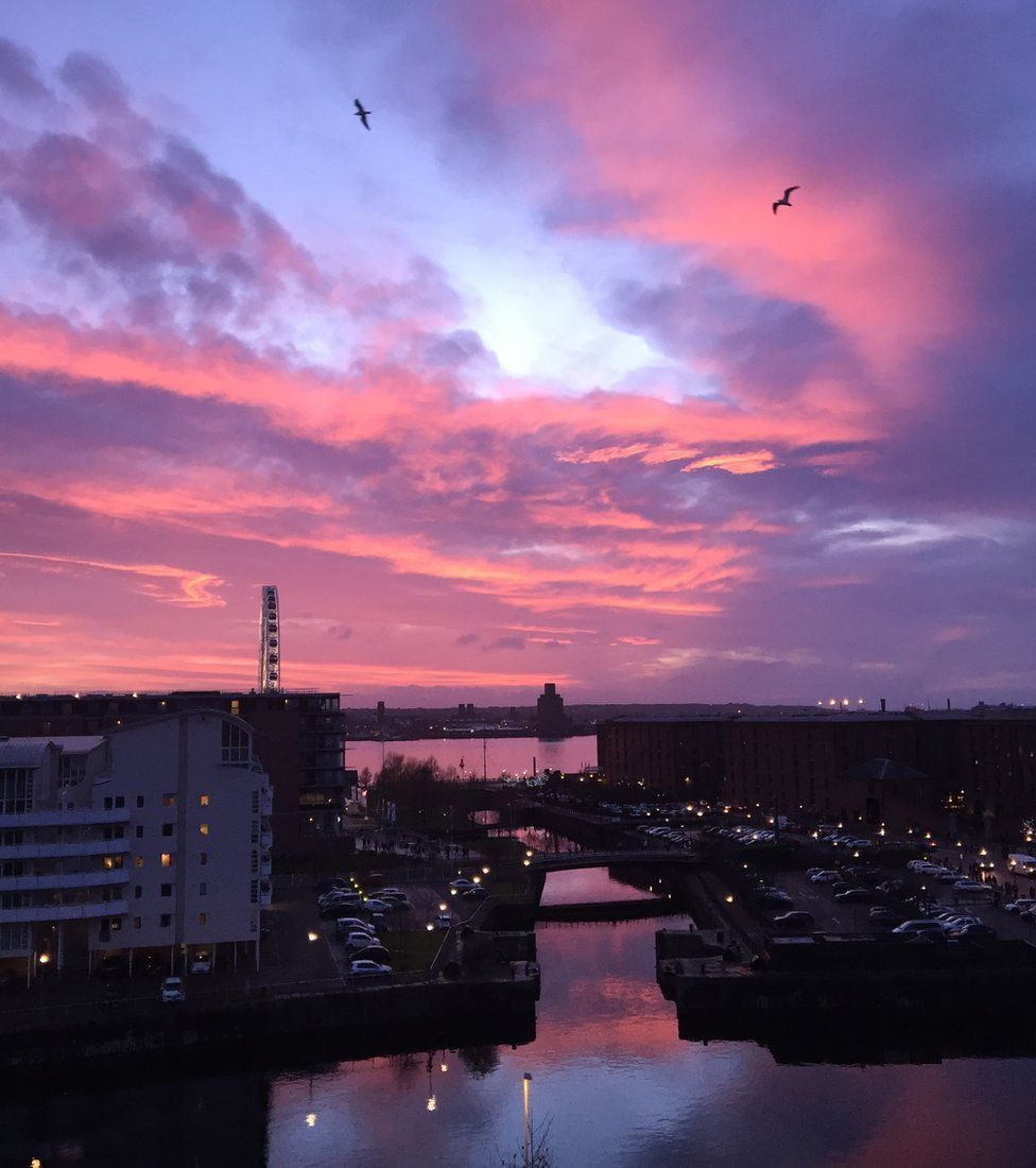 Sunset over Liverpool's Albert Dock