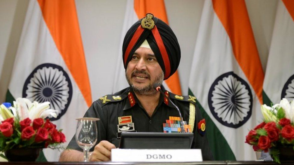 """Indian army""""s director general of military operations Lt General Ranbir Singh speaks during a media briefing in New Delhi, India, September 29, 2016."""