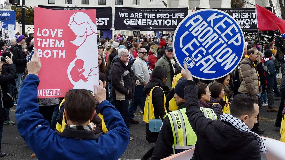 Pro-choice and anti-abortion protesters rally outside the US Supreme Court