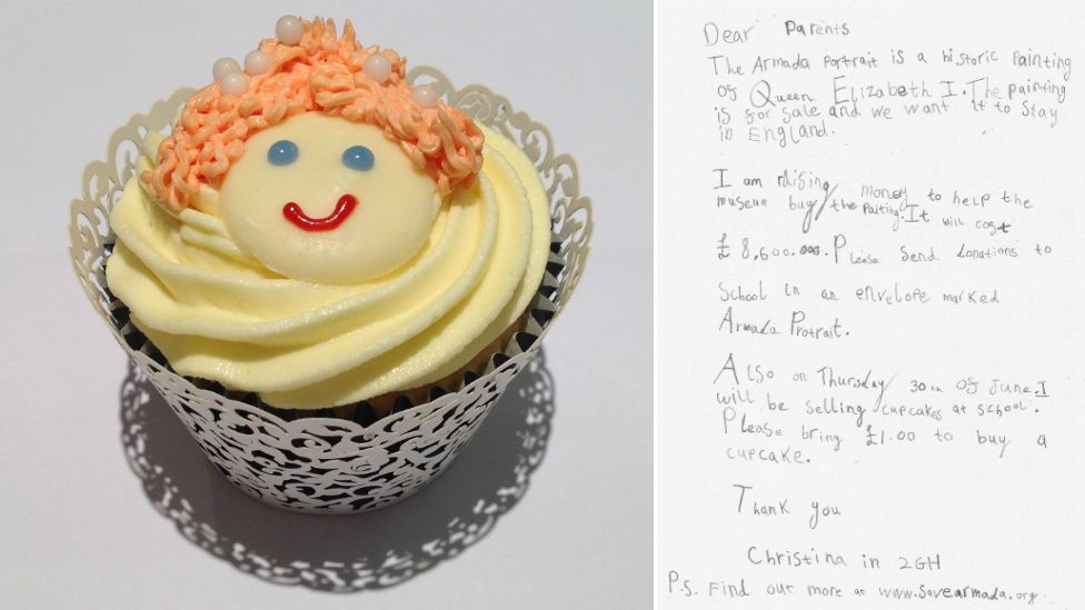 Elizabeth I cupcake and letter