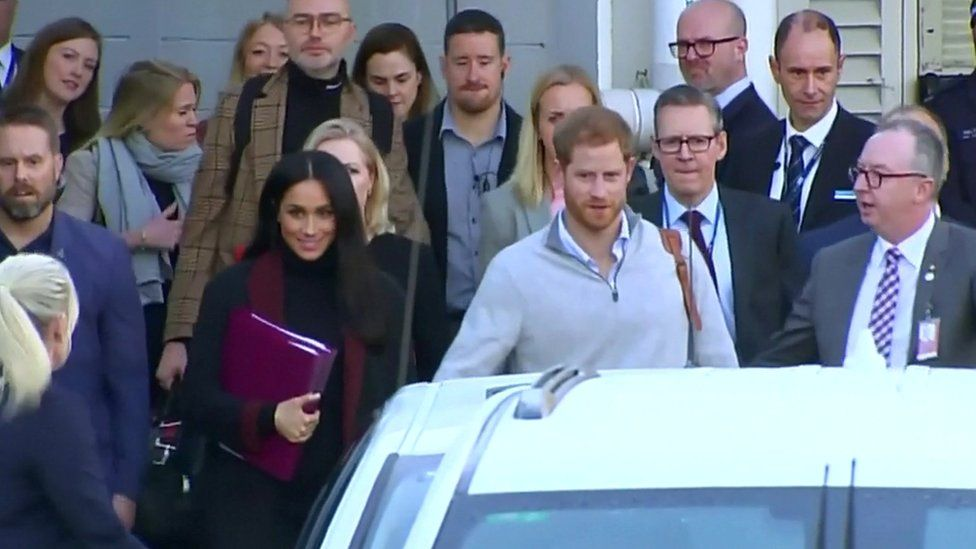 The Duke and Duchess of Sussex arriving in Sydney