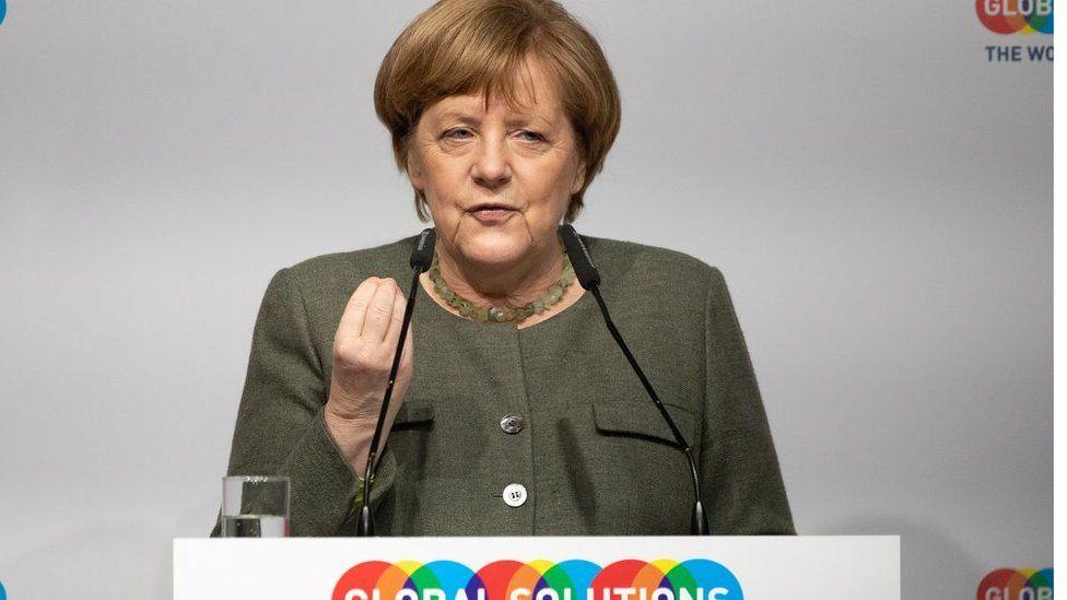 German Chancellor Angela Merkel speaks during the Global Solutions Summit in Berlin, Germany, 19 March 2019