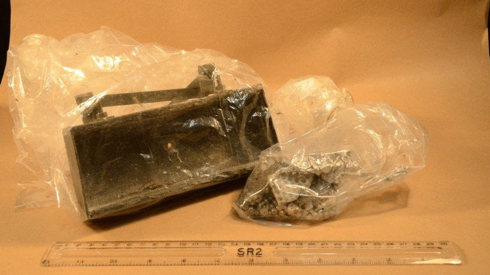 A Claymore mine with shrapnel that was found in the forest
