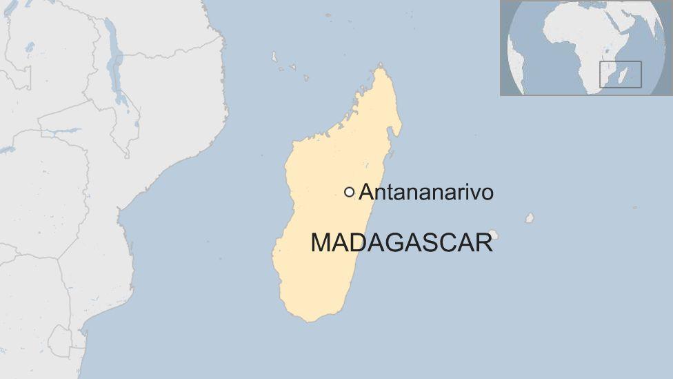 Map showing location of Antananarivo in Madagascar