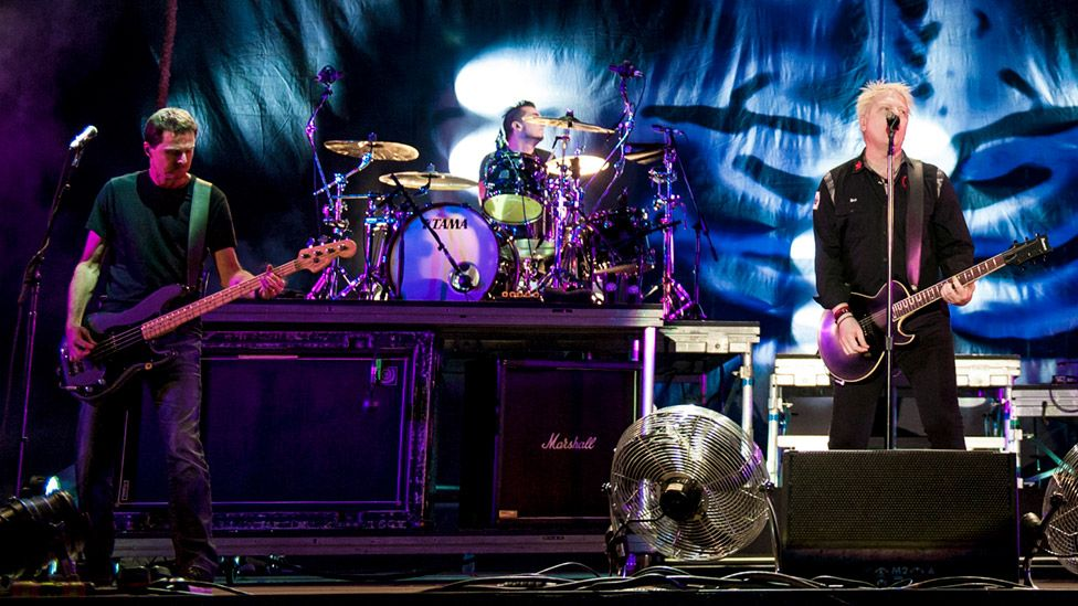 Pete Parada with The Offspring on stage at the 2014 Download Festival