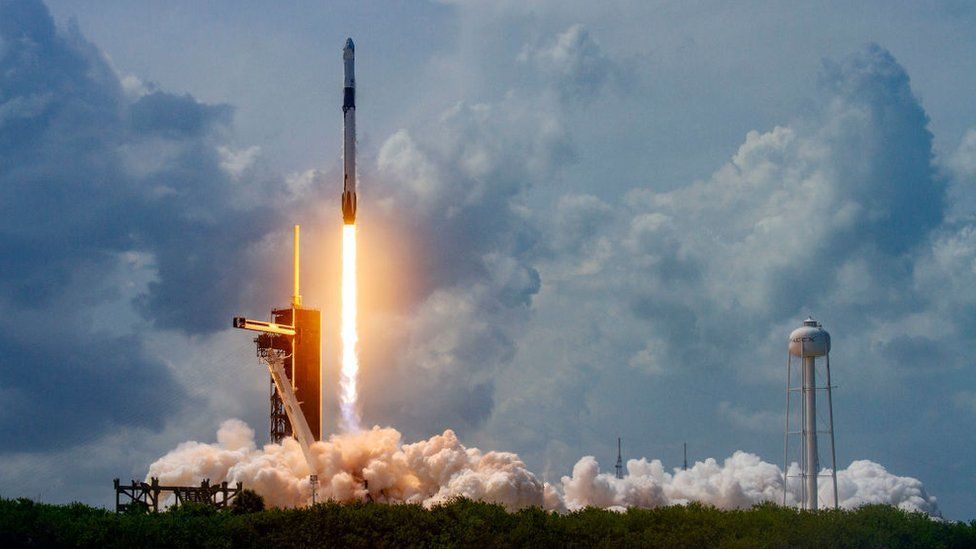 SpaceX Falcon 9 rocket carrying the company's Crew Dragon spacecraft launches on the Demo-2 mission to the International Space Station with NASA astronauts Robert Behnken and Douglas Hurley onboard at Launch Complex 39A May 30, 2020, at the Kennedy Space Center, Cape Canaveral, Florida