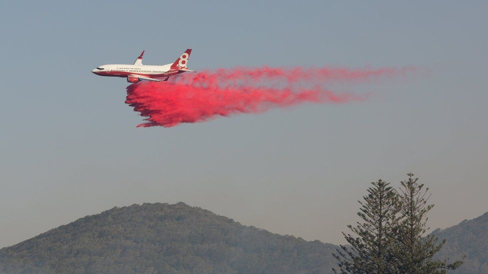 A water bomber aircraft dropping fire retardant on a wildfire in Forster on 7 November