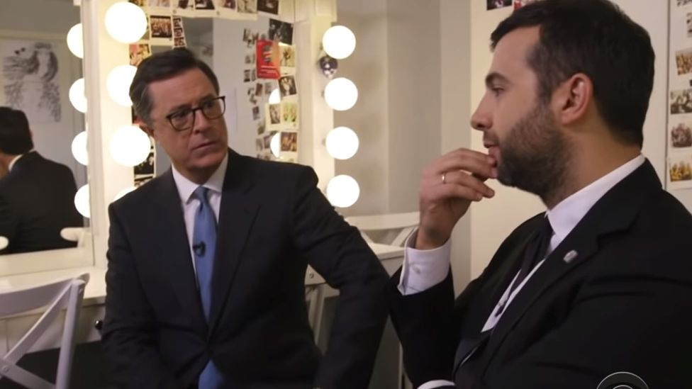 Russian and US talk show hosts Ivan Urgant and Stephen Colbert, 2017