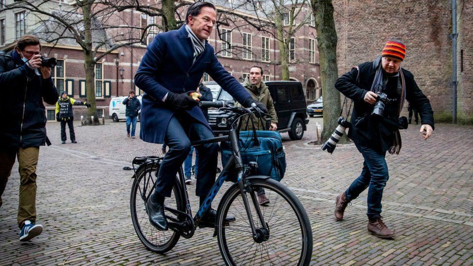 Mr Rutte is one of many Dutch politicians who travel around The Hague by bike