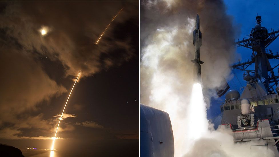 Left: A medium-range ballistic missile launched from a testing facility in Hawaii on August 29, 2017. / Right: The USS John Paul Jones fires a missile in testing the Aegis system in June 2014.