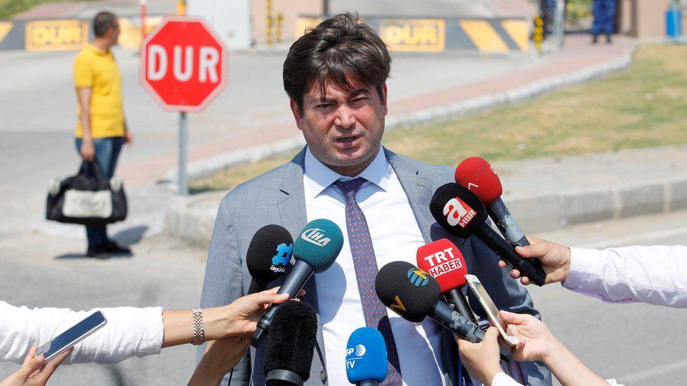 Cem Halavurt talking to reporters outside Aliaga Prison, where his client Andrew Brunson was held