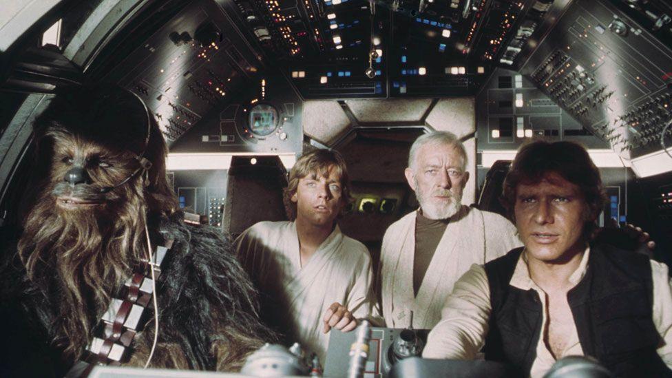 Chewbacca, Luke Skywalker, Obi-Wan Kenobi, Han Solo