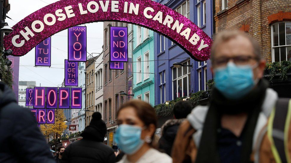 Shoppers wearing masks in Carnaby Street on Saturday