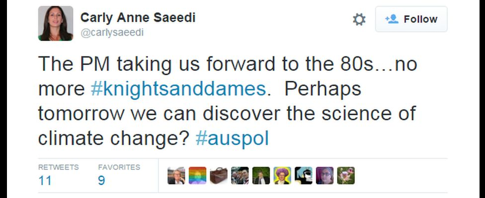 """Tweet saying: """"The PM taking us forward to the 80s... no more #knigtsanddames. Perhaps tomorrow we can discover the science of climate change? #auspol"""