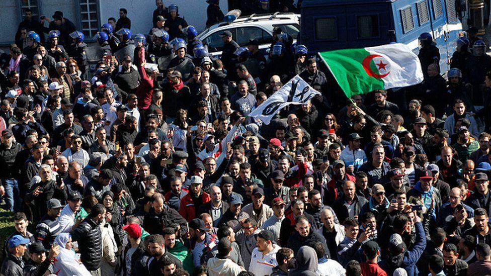 Protestors gather in Algeria's capital Algiers