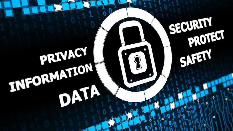 A graphic with the words information, data, privacy and security on