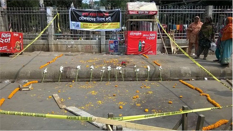 Shrine to blogger Avijit Roy