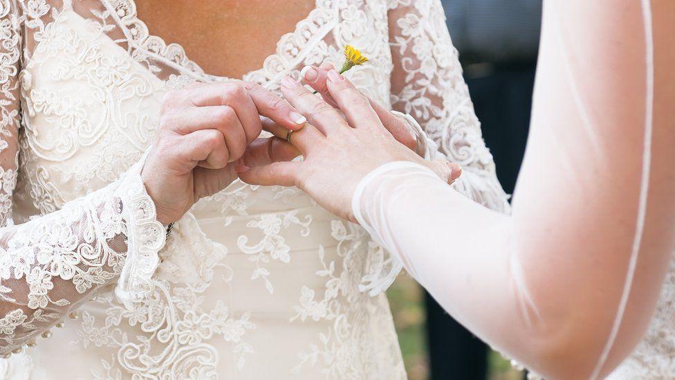 Brides exchanging wedding rings