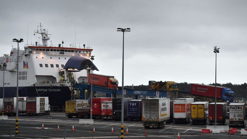 Lorries driving off a ferry in Larne