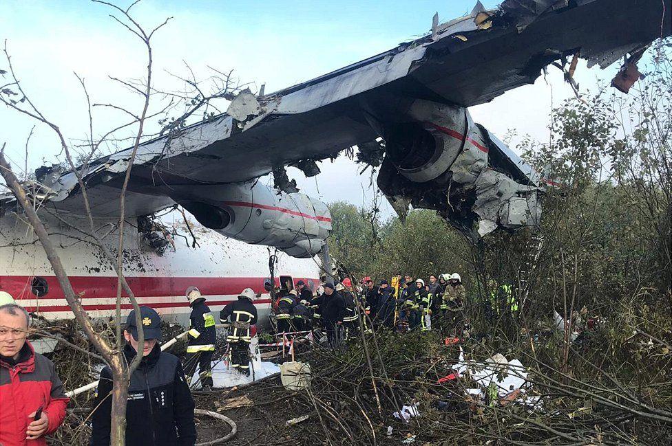 Damaged plane at crash site, 4 Oct 19