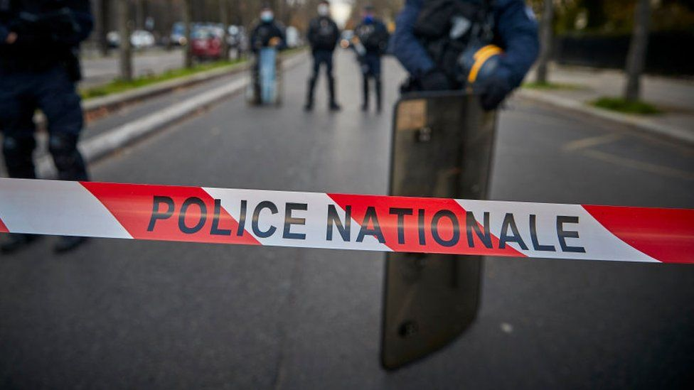 File photo of French national police tape