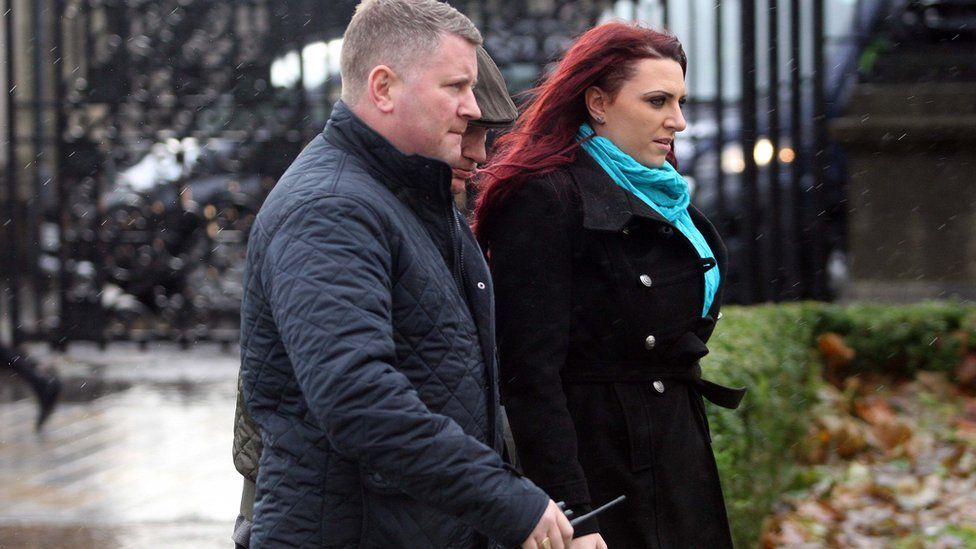 Paul Golding and Jayda Fransen outside the courtroom in Belfast