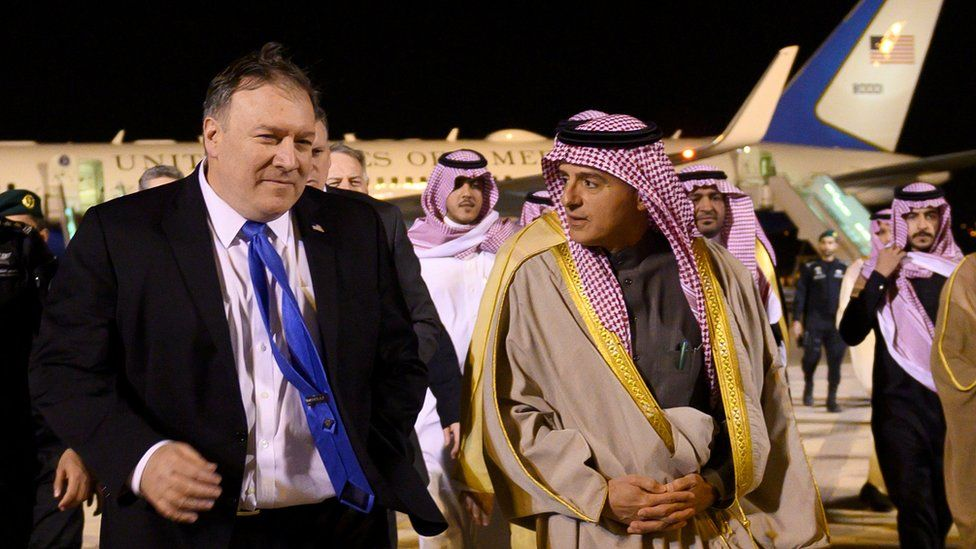 US Secretary of State Mike Pompeo is greeted by Saudi Minister of State for Foreign Affairs Adel al-Jubeir in Riyadh, January 13, 2019
